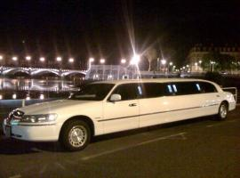 White limousine waiting for a stag group