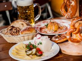 Mouthwatering German dish in traditional restaurant in Cologne