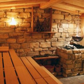 Hot sauna in luxurious sauna