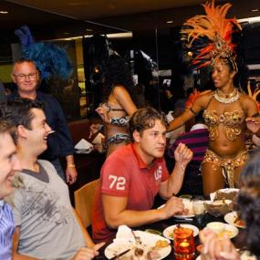 Stag group in Brazilian restaurant surprised by sexy Brazilina dancers