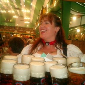 Get beer straight from busty German waitress